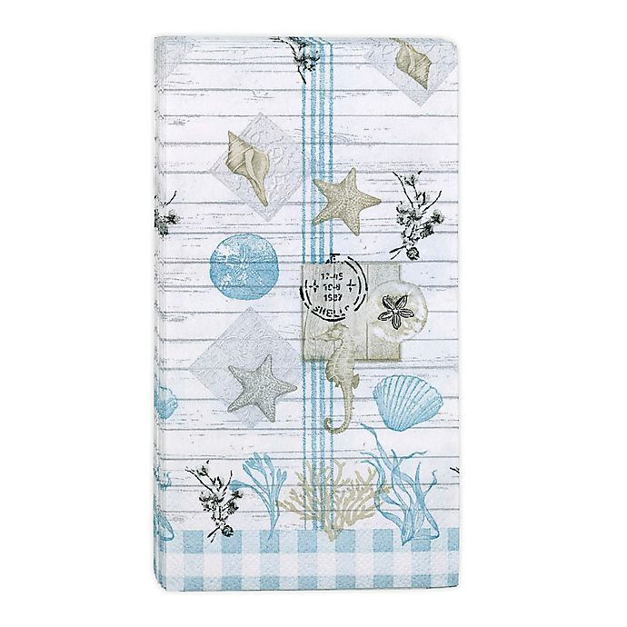 Alternate image 1 for Farmhouse Shell 32-Count Paper Guest Towels in Blue/White