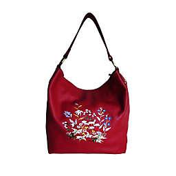 AmeriLeather 14.5-Inch Embroidered Leather Handbag