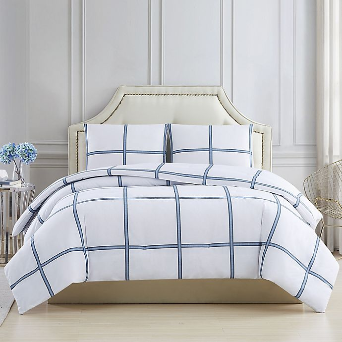 Alternate image 1 for Charisma® Windowpane 3-Piece Comforter Set in Blue/White