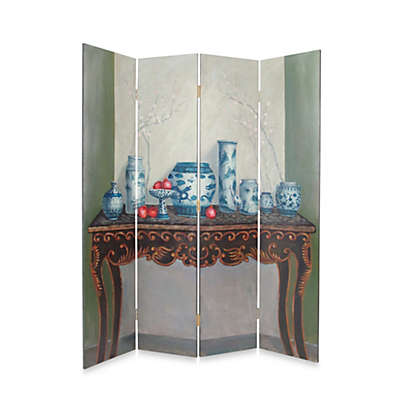 Display of Vase 4-Panel Fabric/Wood Room Divider Floor Screen