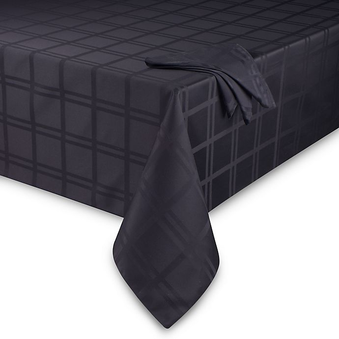 Alternate image 1 for Origins™ Microfiber 60-Inch x 140-Inch Oblong Tablecloth in Black