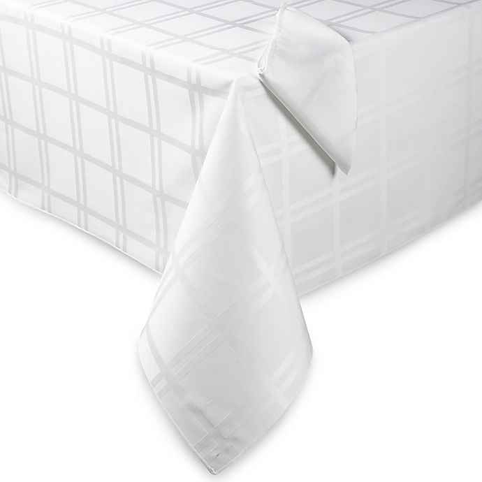 Alternate image 1 for Origins™ Microfiber 60-Inch x 140-Inch Oblong Tablecloth in White