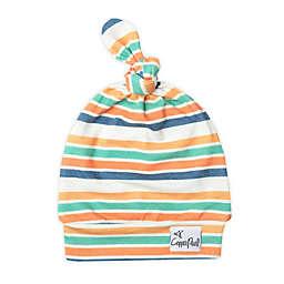 Copper Pearl™ Size 0-4M Retro Top Knot Hat in Orange/Blue