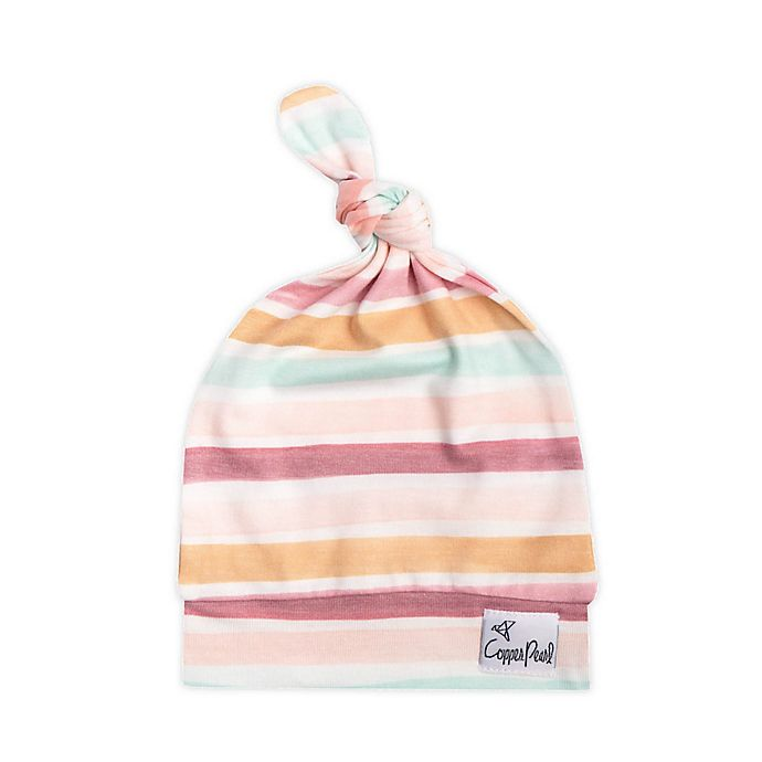 Alternate image 1 for Copper Pearl™ Size 0-4M Belle Top Knot Hat in Pink/White