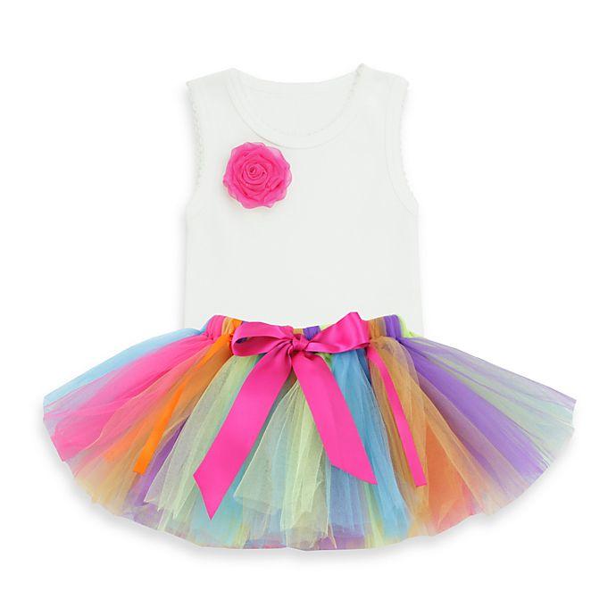 Alternate image 1 for Ruffly Rumps by RuffleButts® 2-Piece Rainbow Tutu & Bodysuit Set