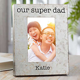 I Love Dad 4-Inch x 6-Inch Galvanized Metal Picture Frame