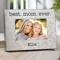 I Love Mom 4-Inch x 6-Inch Galvanized Metal Picture Frame