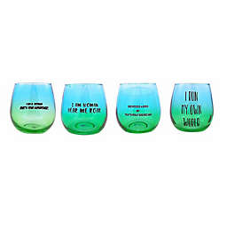 Women's Empowerment Stemless Wine Glasses (Set of 4)