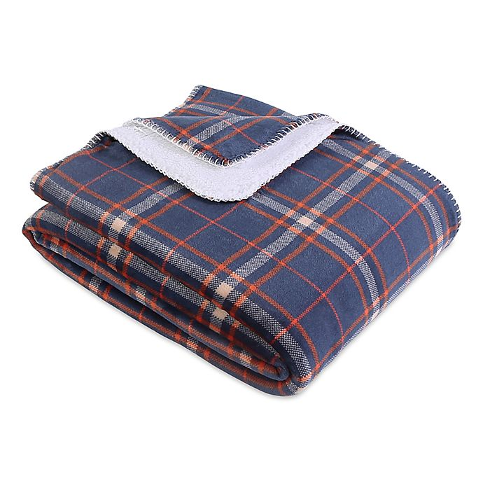 Alternate image 1 for Berkshire Blanket® Reversible Plaid & Sherpa Throw Blanket in Navy
