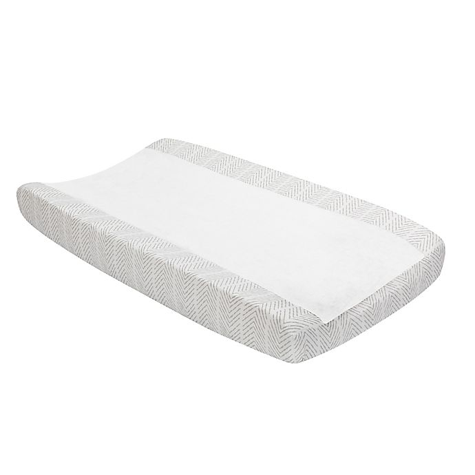 Alternate image 1 for Lambs & Ivy® Linen Safari Changing Pad Cover in White
