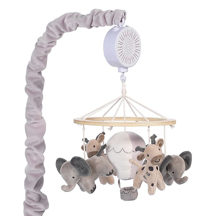 Alternate image 1 for Lambs & Ivy® Linen Safari Musical Mobile in Grey