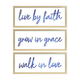 Prinz 3-Piece Live By Faith 27.5-Inch x 11-Inch Boxed Wall Art Set in White