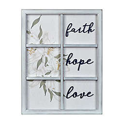 "Prinz ""Faith Hope Love"" 17.25-Inch x 22.25-Inch Window Wall Art Plaque in White"