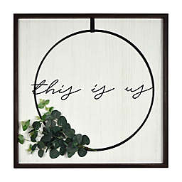 """Prinz """"This is Us"""" 24-Inch Square Plank Framed Wire Wreath Wall Art"""