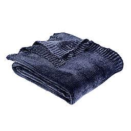 Berkshire Blanket® Solid Chenille Throw Blanket in Navy