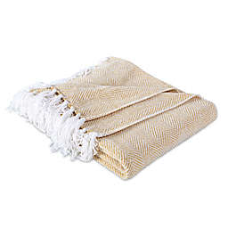 Berkshire Blanket & Home Co. Herringbone Chenille Throw Blanket in Gold