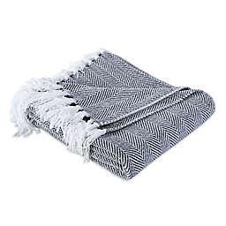 Berkshire Blanket & Home Co. Herringbone Chenille Throw Blanket in Denim
