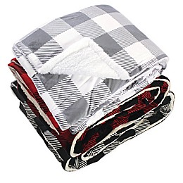 Hudson Home Collection Check Print Reversible Oversized Throw Blanket