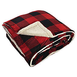 Hudson Home Collection Check Print Reversible Oversized Throw Blanket in Red Buffalo Plaid