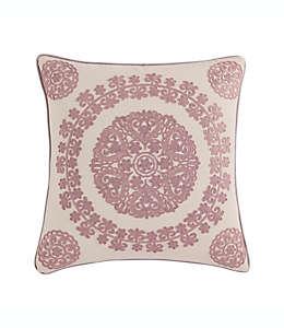 Funda para cojín decorativo cuadrado de algodón Morgan Home con patrón de medallones color rosa blush