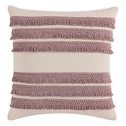 Morgan Home Square Decorative Fringe Throw Pillow Cover in Blush