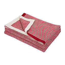 Reversible Woven Grid Throw Blanket in Red