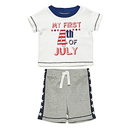 Baby Starters® 2-Piece 4th of July T-Shirt & Short Set in White/Grey