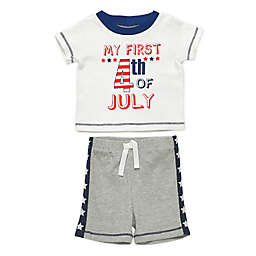 Baby Starters® Size 9M 2-Piece 4th of July T-Shirt & Short Set in White/Grey