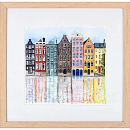 Euro City House 14.8-Inch Square Framed Wall Art
