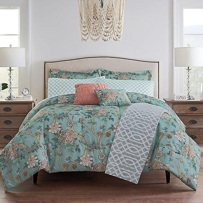 Alternate image 1 for Waverly® Mudan Floral 10-Piece Reversible Comforter Set