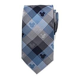 Disney® Mickey Mouse Plaid Men's Necktie in Blue