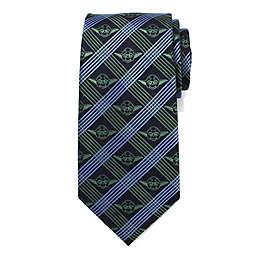 Star Wars™ Yoda Plaid Men's Necktie in Navy