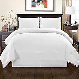 Jasper Haus Chandra 3-Piece Pom-Pom Down Alternative King/California King Comforter Set in White