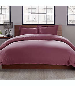 Set de funda para edredón king con diseño liso en rosa, 3 piezas
