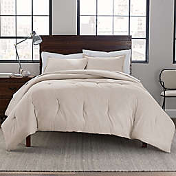 Garment Washed 3-Piece Reversible Full/Queen Comforter Set in Stone