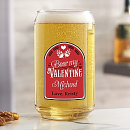 Beer My Valentine Personalized 16 oz. Beer Can Glass