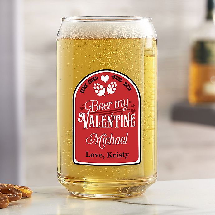 Alternate image 1 for Beer My Valentine Personalized 16 oz. Beer Can Glass