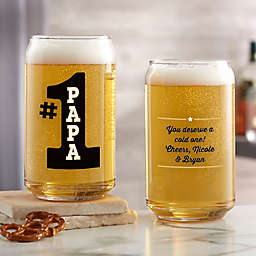 #1 Dad Printed 16 oz. Beer Can Glass