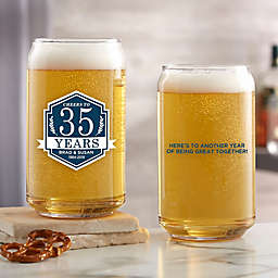 Anniversary Personalized 16 oz. Beer Can Glass