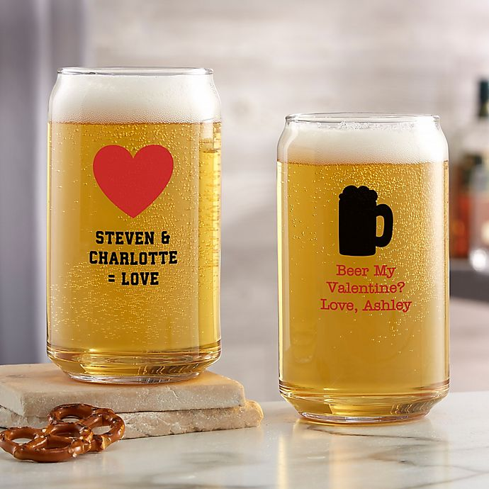 Alternate image 1 for Choose Your Icon Personalized Valentines Day 16 oz. Beer Can Glass