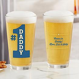 #1 Dad Personalized 16 oz. Pint Glass