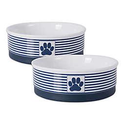 Dii® Bone Dry Paw & Stripes Pet Bowls (Set of 2)