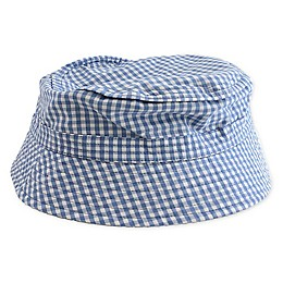 Toby Fairy™ Gingham/Solid Reversible Porkpie Hat in Light Blue