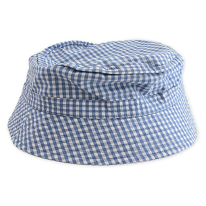 Alternate image 1 for Toby Fairy™ Gingham/Solid Reversible Porkpie Hat in Light Blue