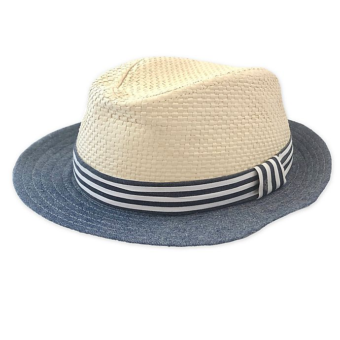 Alternate image 1 for Toby Fairy™ Woven Fedora in Natural/Blue