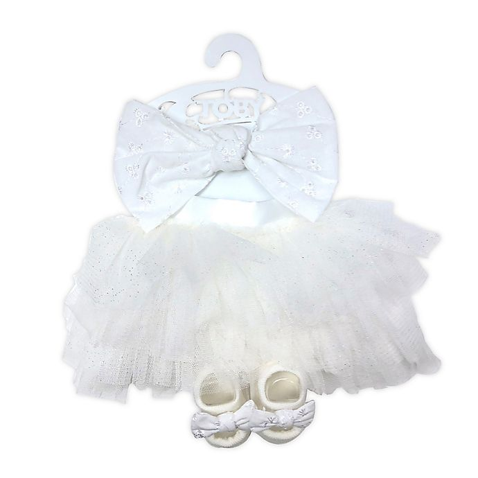 Alternate image 1 for Toby Signature™ Newborn 3-Piece Eyelet Tulle Tutu, Headband, and Bootie Set in White