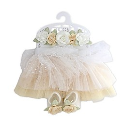 Toby Signature™ Newborn Flower Tutu, Headband, and Bootie Set in Banana