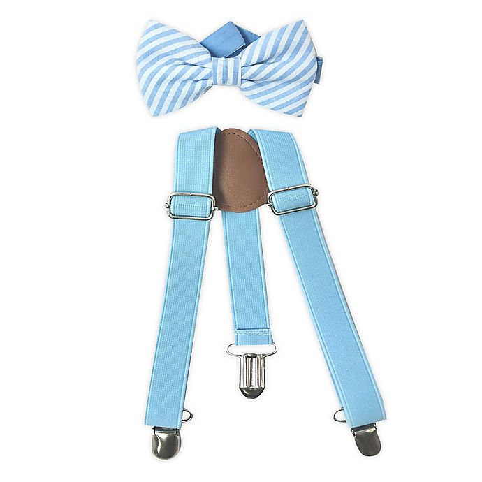 Alternate image 1 for Toby Fairy™ Newborn 2-Piece Suspender and Bow Tie Set in Blue