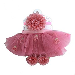 Toby Signature™ Newborn 3-Piece Floral Tutu, Headband, and Shoe Set in Pink/Coral