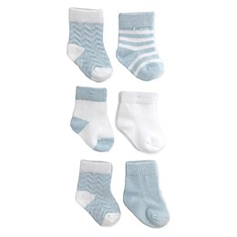 NYGB™ 6-Pack Chevron Socks in Pastel Blue